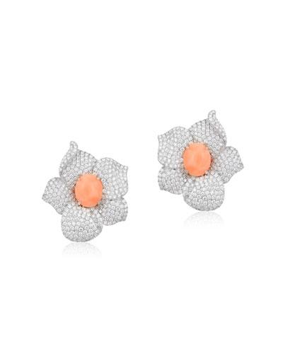 18k White Gold  Diamond & Coral Flower Earrings