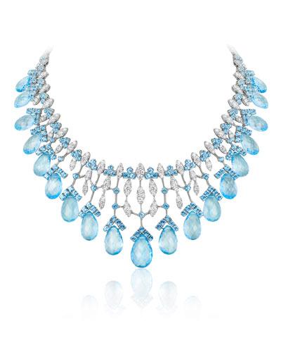 18k White Gold Topaz & Diamond Statement Necklace
