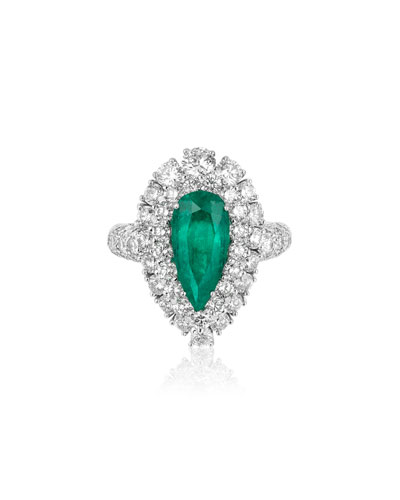 18k White Gold, Diamond & Emerald Ring