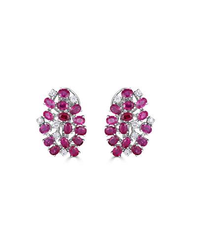 Unique 18k White Gold Diamond & Ruby Earrings