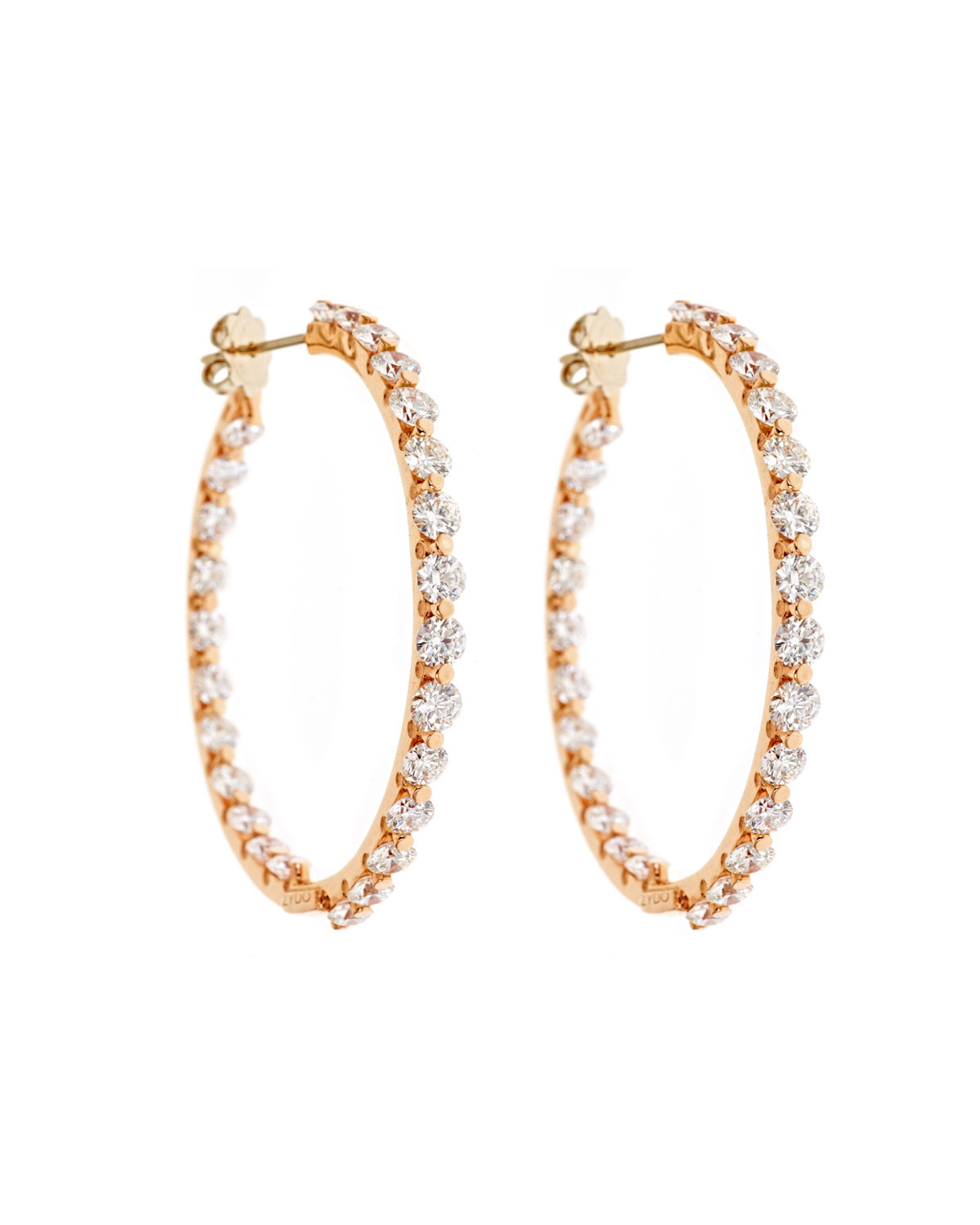 Clic Chic 18k Rose Gold Diamond Hoop Earrings