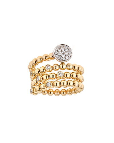 Spiral 2-Tone 18k Gold Diamond Coil Ring