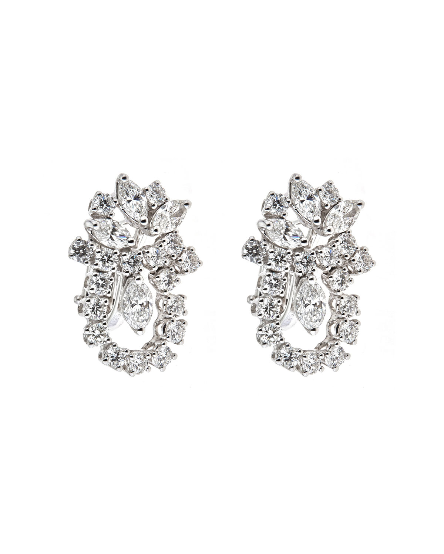 Luminal 18k White Gold Round Marquise Diamond Earrings