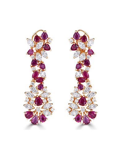 Unique 18k Rose Gold Diamond & Ruby Drop Earrings