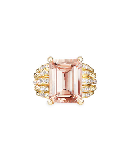 Image 4 of 4: David Yurman Tides 18k Gold Diamond & Morganite Wide Ring, Size 8