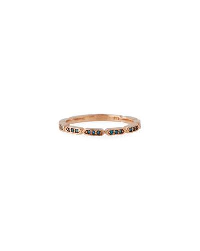 14k Rose Gold Blue Diamond Geo Stack Ring  Size 7