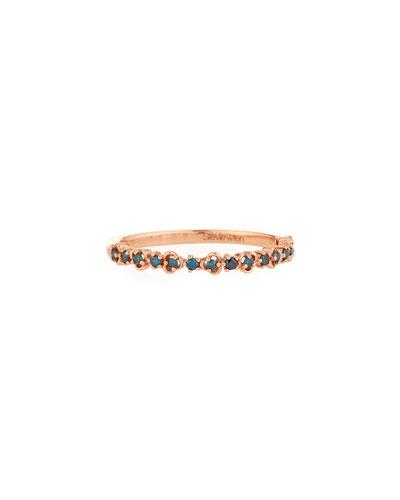 14k Rose Gold Blue Diamond Vine Ring, Size 6.5