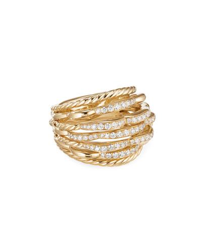 Tides 18k Gold Dome Diamond Ring  Size 8