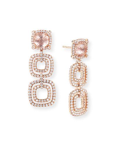 Chatelaine 18k Rose Gold Morganite Drop Earrings
