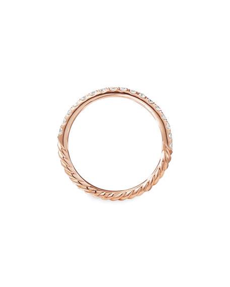 Image 4 of 4: David Yurman Cable Collectibles Pave Diamond Band Ring in 18K Rose Gold, Size 8