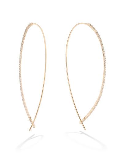 14k Gold Large Upside Down Skinny Diamond Hoop Earrings