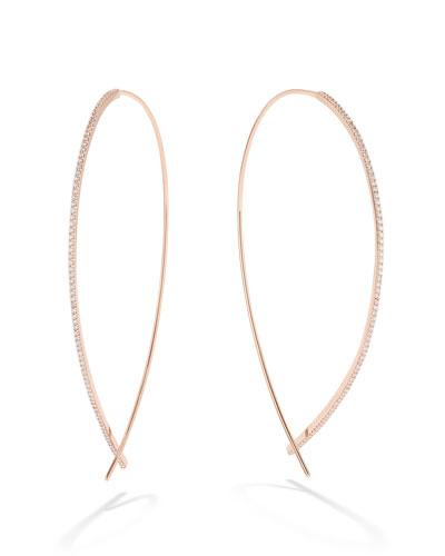 14k Rose Gold Large Upside Down Skinny Diamond Hoop Earrings