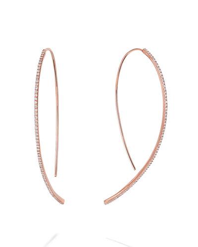 14k Rose Gold Skinny Hooked Diamond Hoop Earrings