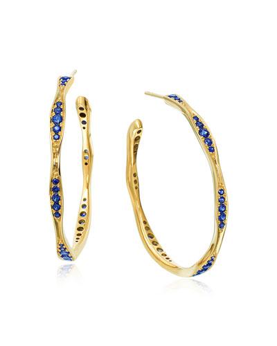 18k Gold Blue Sapphire Wave Hoop Earrings