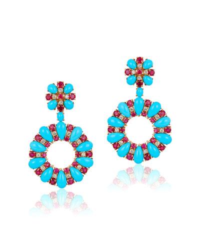 18k White Gold, Turquoise, Diamond & Ruby Earrings