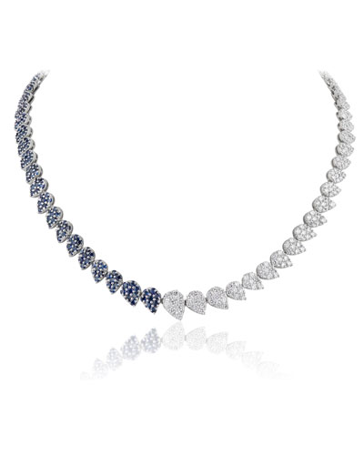 18k White Gold Half Diamond & Sapphire Necklace