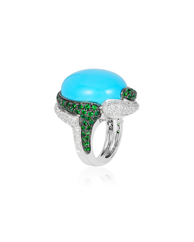 18k White Gold Turquoise  Diamond & Tsavorite Ring  Size 7