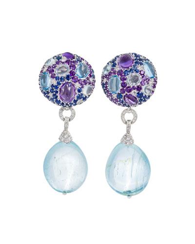 Multi-Stone & Detachable Drop Earrings, Blue