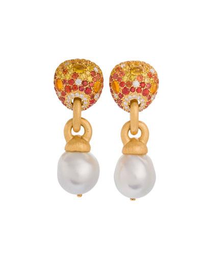 18k Sapphire & Baroque Pearl Drop Earrings