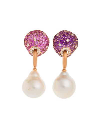 18k Rose Gold, Stone & Baroque Pearl Drop Earrings