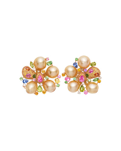 18k Rose Gold Pearl Blossom & Stone Earrings