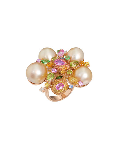 18k Rose Gold Pearl Blossom & Stone Ring