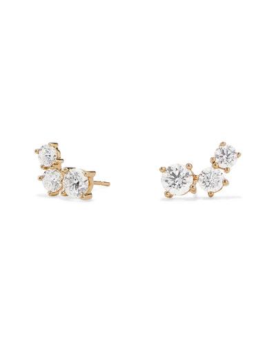 14k Gold 3-Diamond Cluster Earrings