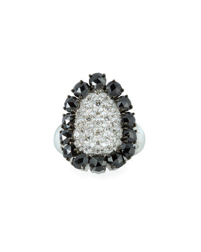 18k White Gold Scintillate Black & White Diamond Ring  Size 6.75