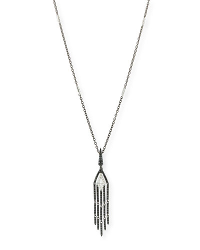 18k White Gold Diamond Tassel Pendant Necklace