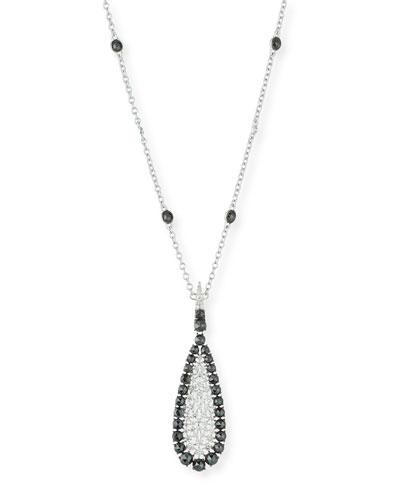 18k White Gold Scintillate Black & White Diamond Pendant Necklace