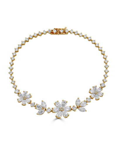 Luminal 18k Gold Diamond Triple Flower Bracelet