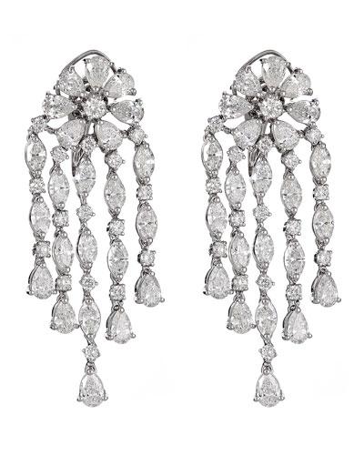 Unique 18k White Gold Diamond Multi-Dangle Earrings