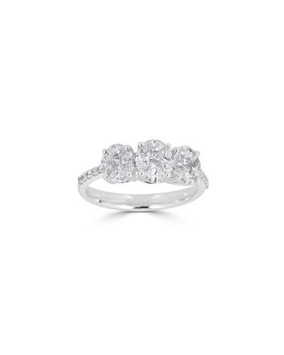 Mosaic 18k White Gold Diamond Trinity Ring