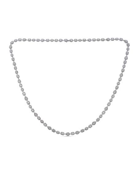 "ZYDO Mosaic 18k White Gold Extra-Long Diamond Necklace, 32""L"