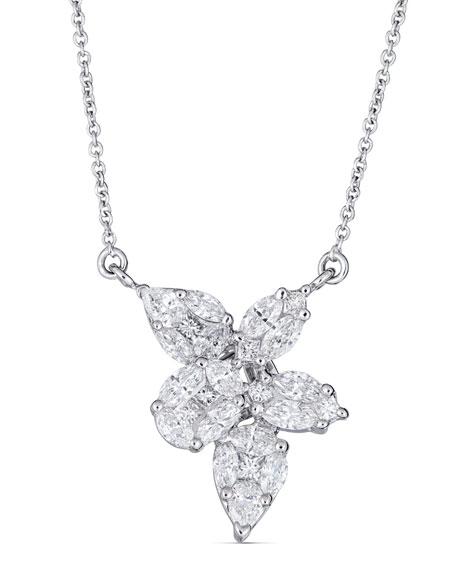 ZYDO Mosaic 18k White Gold Diamond Pendant Necklace, 1.28tcw