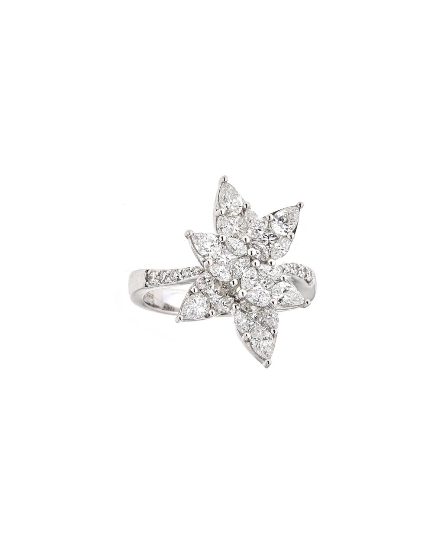 Zydo Mosaic 18k White Gold Diamond Flower Ring Neiman Marcus