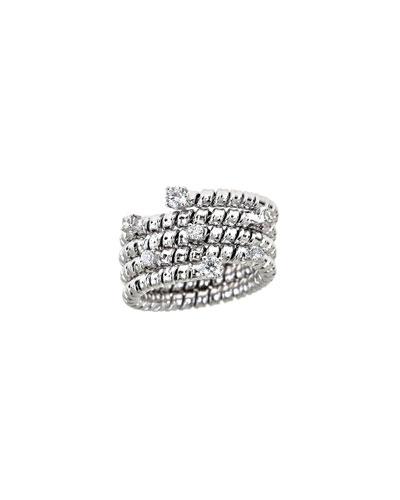 Spiral 18k White Gold Diamond Coil Ring
