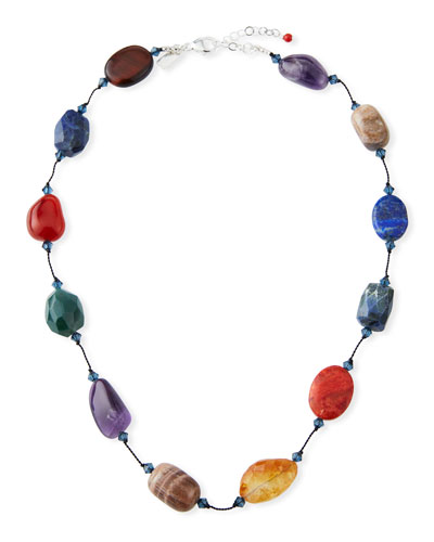 Short Mixed-Stone Necklace, 18