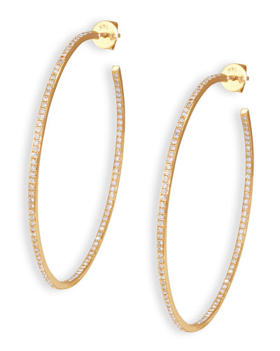 14k Diamond Micropave Medium Hoop Earrings