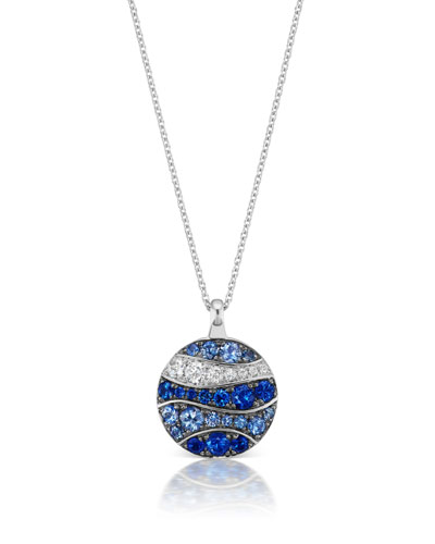 18k White Gold Sapphire & Diamond Wave Disk Pendant Necklace