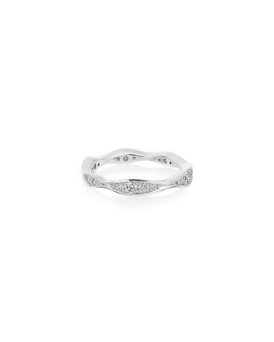 18k White Gold Diamond Narrow Wave Ring