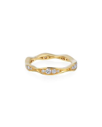18k Gold Diamond Narrow Wave Ring