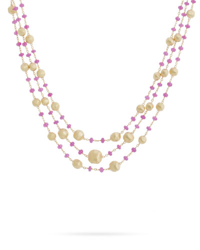 Africa 18k Gold Ruby 3-Strand Necklace