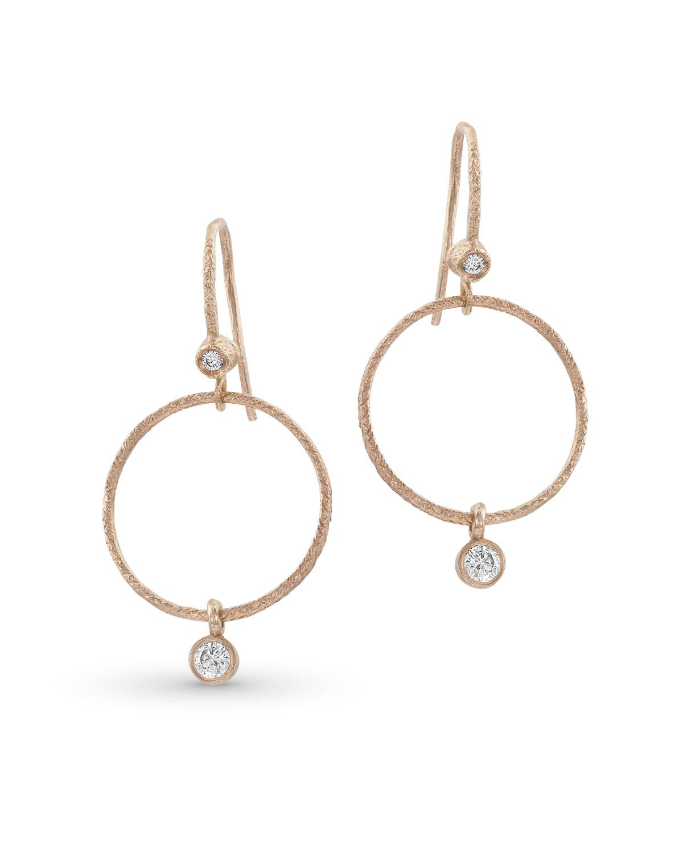 da853d7dc Dominique Cohen Textured 18k Rose Gold Diamond Hoop Drop Earrings ...