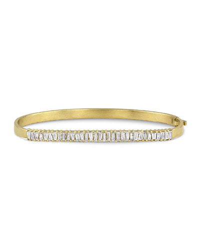 18k Gold Diamond Hinged Bangle Bracelet