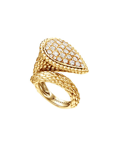 Serpent Boheme 18k Rose Gold Diamond Large Ring, Size 52