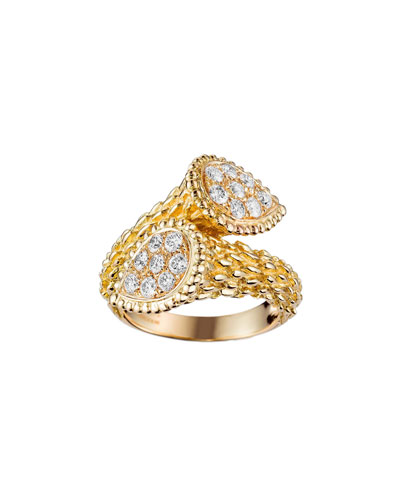 Serpent Boheme 18k Gold Diamond Bypass Ring  Size 54