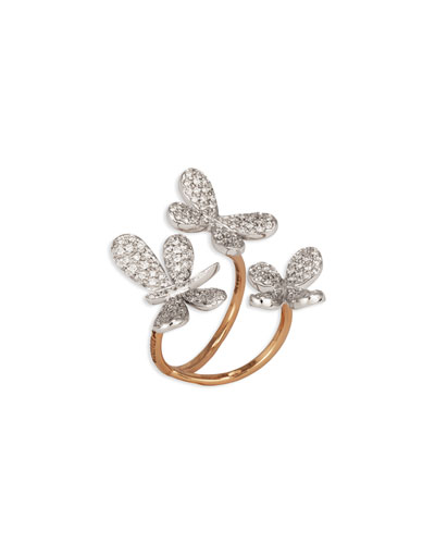 Nature 18k Diamond Butterfly & Dragonfly Ring, Size 7