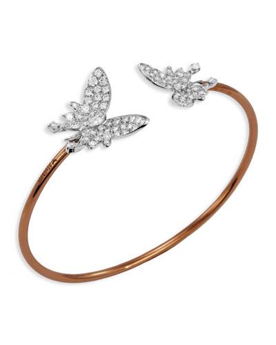 Nature 18k Two-Tone Diamond Butterfly Cuff Bracelet