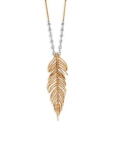 18k Diamond Feather Pendant Necklace